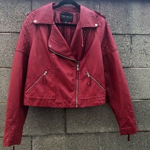 Forever 21 Moto Biker Red Jacket Faux Leather 3X